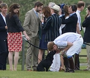 Price Harry at the annual Audi Polo seen here kissing Lupo the cocker spaniel. . Image Pinterest