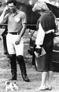 Lady Diana with Her little dog Murphy attending a Polo Match at the Guards Club, Smith's Lawn, Windsor. The image is from the Royal archaic files of May 1983 and is sourced from Pinterest.