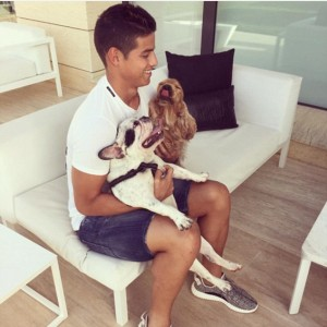 6.James Rodriguez: He plays for Real Madrid and captains the Colombia National team. James de-stresses in the company of his three dogs, a Golden Retriever, Cocker Spaniel and French bulldog as seen in a happy pose in the picture. Image http://www.dailymail.co.uk
