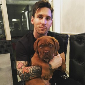 2. Lionel Messi: Touted as the best football player in the world, this toughie is not just the greatest footballer mankind has witnessed but also a superb dog parent to a French Mastiff (Dogue de Bordeaux). This picture shows the laid back side of a doting dog lover. The Argentine professional footballer is a forward in Spanish Club, FC Barcelona. Image http://www.dailymail.co.uk