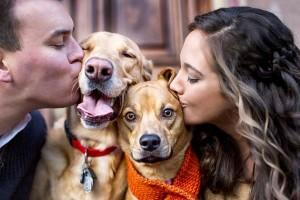 Couples kissing their dogs