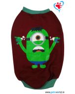 "DOGEEZ Winter Dog Tshirt "" MINIONS "" Maroon 14 Inches"