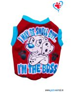 "DOG EEZ Winter Dog Tshirt "" I'M THE BOSS"" Red 10 inches"