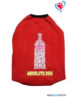 "DOG EEZ Winter Dog Tshirt ""ABSOLUTE DESI"" Red 14 inches"
