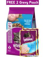 Whiskas Ocean Fish Cat Food 3 Kg + FREE 2 Whiskas Adult Gravy Sachets 85 gms