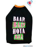 "DOGEEZ Winter Dog Tshirt ""BAAP BAAP HOTA HAI"" Black 24 inches"