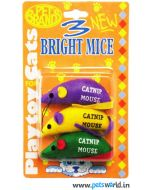 Pet Brands Three Bright Mice Toys For Cat with Catnip
