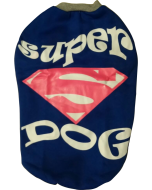 Dog Winter Tshirt Super Dog Blue with Grey Collar 20 inches