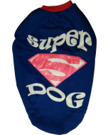 DOG EEZ Winter Tshirt Super Dog Blue with Red Collar 24 inches