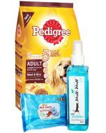 Pedigree Meat and Rice 3 Kg Adult Dog Grooming Combo