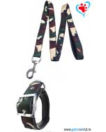 Dog Collar with Leash (L) Nylon Camouflage Print with quillted lining
