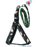 Dog Harness Set (L) Nylon Camouflage Print with quillted lining