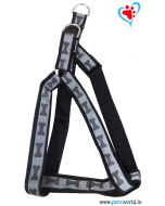 Petsworld Bone Mark Reflective Dog Harness - Black