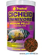 Tropical Cichlid Omnivore Fish Food Medium Pellet 1000ml