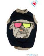 "DOGEEZ Winter Dog Tshirt "" ACID DOG "" Black 12 Inches"