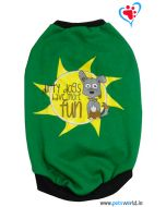 """DOGEEZ Winter Dog Tshirt """" DIRTY DOGS """" Green 18 Inches"""