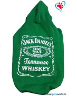 "DOGEEZ Winter Hooded Dog Tshirt ""JACK DANIELS"" Green 26 Inches"