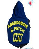 "DOGEEZ Winter Hooded  Dog Tshirt "" ABERDOGGIE "" Blue 12 Inches"
