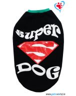 "DOGEEZ Winter Dog Tshirt "" SUPER DOG ' Black 14 Inches"