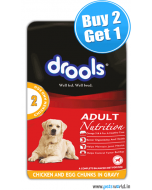 Drools Adult Chicken And Egg Chunks Gravy Pouch 150 gms BUY 2 GET 1