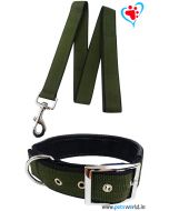 Petsworld Premium Padded Dog Collar With Leash (Olive Green)