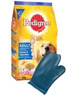 Pedigree Adult Chicken and Vegetables 15 Kg + Dog Bathing Glove Combo