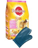 Pedigree Deal Combo - Puppy Chicken and Milk 15 Kg + Dog Bathing Glove