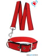 Petsworld Premium Padded Dog Collar With Leash (Red)