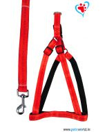 Petsworld Premium Padded Dog Harness + Leash Set For Small Dogs (Red)