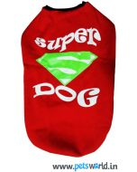 Dog Winter Tshirt Super Dog Red 20 inches