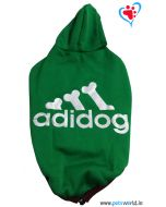 "DOGEEZ Winter Hooded Dog Tshirt "" ADIDOG "" Green 14 Inches"