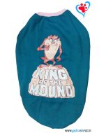 "Dog Winter Tshirt ""KING OF THE MOUND"" Blue 26 inches"