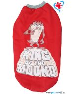 "Dog Winter Tshirt ""KING OF THE MOUND"" Red 22 inches"