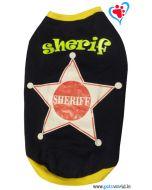 """DOG EEZ Dog Tshirt """"Sheriff"""" Navy Blue 20 inches"""