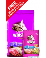 Whiskas Mackerel Cat Food 3 Kg + FREE Whiskas Ocean Fish Cat Food 80 gms