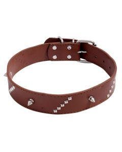 Petsworld Adjustable Dog Collar 3.5 cm (1.4 Inch) With Metal Rivet Stud (Brown)