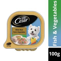 Cesar Adult Wet Dog Food, White Meat Fish & Vegetables, 100g Tray