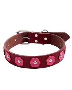 Petsworld High Quality Adjustable Dog Collar 1.1. Inch Round Spike Studs with Flower (Red)