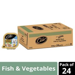 Cesar Adult Wet Dog Food, White Meat Fish & Vegetables, 24 Trays (24x100g)