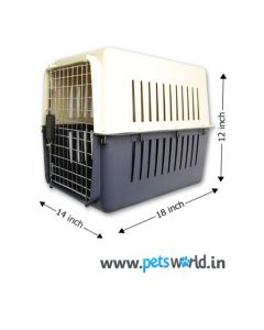 IATA Approved Fibre Flight Dog Crate - LxBxH : 45 x 35 x 30 cm ( 18x14x12 inch)
