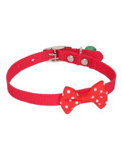 Petsworld High Quality Designer Adjustable Polka Dot Bow Design Nylon Collar with Bell for Puppy/Cat-1 cm Red