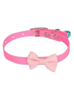 Petsworld High Quality Designer Adjustable Polka Dot Bow Design Nylon Collar with Bell for Puppy/Cat-1 cm Pink
