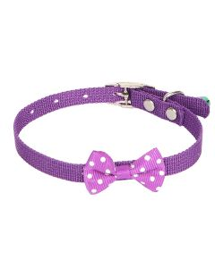 Petsworld High Quality Designer Adjustable Polka Dot Bow Design Nylon Collar with Bell for Puppy/Cat-1 cm Purple