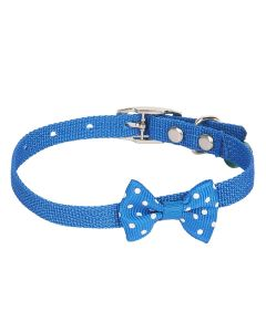 Petsworld High Quality Designer Adjustable Polka Dot Bow Design Nylon Collar with Bell for Puppy/Cat-1 cm Blue