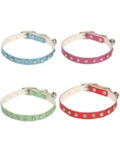 Petsworld High Quality Rhinestone Studded Adjustable Puppy/Cat Collar with Bell-1CM (Combo of 4)