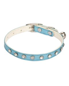 Petsworld High Quality Rhinestone Studded Adjustable Puppy/Cat Collar with Bell-1CM Blue