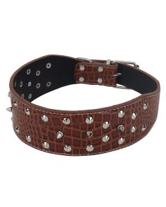 Petsworld High Quality Adjustable Dog Collar 6 cm (2.4 Inch) with Triangular Metal Rivet Studs Design (Brown)