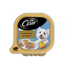 Cesar Adult Wet Dog Food, Tuna with White Meat Fish & Vegetables, 100g Tray
