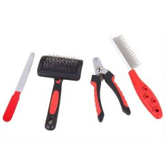 Petsworld Professional Pet Grooming Kit for Dog and Cat Four Tools Red (Small)