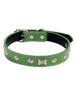 Petsworld High Quality Adjustable Dog Collar 0.7 Inch with Metal Spike Studs (Green)